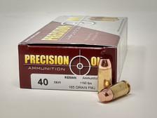 Precision One 40 S&W *REMAN* Ammunition PONE78 165 Grain Full Metal Jacket 50 Rounds