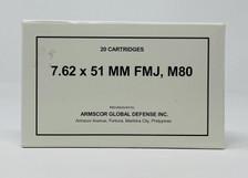 Armscor 7.62x51mm Ammunition 50203 M80 147 Grain Full Metal Jacket CASE 200 Rounds