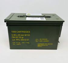 Prvi PPU 5.56x45mm NATO Ammunition PPRM5561M 55 Grain Full Metal Jacket Can 1000 Rounds