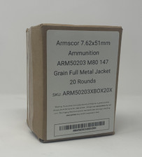 Armscor 7.62x51mm Ammunition ARM50203 M80 147 Grain Full Metal Jacket 20 Rounds