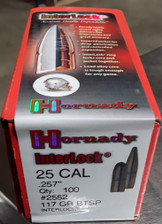 Hornady 25 Caliber .257 117 Grain Soft Point Boat Tail Interlock Projectile H2552 100 Pieces