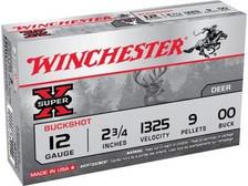 "Winchester 12 Gauge Ammunition Super-X XB1200 2-3/4"" 00 Buck 9 Pellets 1325fps CASE 250 Rounds"