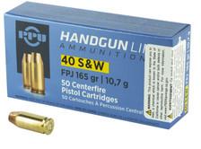 Prvi PPU 40 S&W Ammunition PPH40F 165 Grain Full Metal Jacket Flat Point 50 Rounds