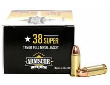 Armscor 38 Super Ammunition ARM50030 125 Grain Copper Plated Full Metal Jacket 50 Rounds