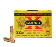 Winchester Super X 100 Year Anniversary 22 LR Ammunition X22LRPP100 40 Grain Hollow Power Point 300 Rounds