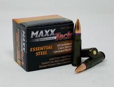 MaxxTech Essential Steel 7.62x39mm Ammunition MTES762X 124 Grain Full Metal Jacket 494 Rounds *Repackaged*