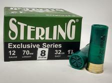 """Sterling 12 Gauge Ammunition STRLG1232G8BOX 2-3/4"""" 1-1/8 oz #8 Shot  25 Rounds"""
