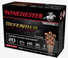 """Winchester Elite Defender 20 Gauge Ammunition WSB203PD 2-3/4"""" 20 Pellet #3 Buckshot 1145fps 10 Rounds"""