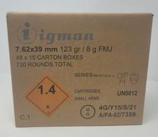 Igman 7.62x39 mm 123 Grain Full Metal Jacket IGM76239CASE CASE 720 Rounds