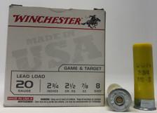 "Winchester 20 Gauge Ammunition 2 3/4"" 7/8 oz #8 shot USA208 1200fps 25 rounds"
