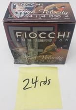 "Fiocchi 12 Gauge High Velocity *Blemished Box Missing 1 Shell*  FI12HV4X 2-3/4"" 1-1/4 oz #4 Shot 1330fps 24 Rounds"