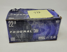Federal 22 LR Ammunition *Blemished Box/Missing Rounds* F729B800X 40 Grain Lead Round Nose Range Pack Approximately 772 Rounds