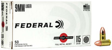 Federal 9mm Luger Ammunition FRTP9115 115 Grain Full Metal Jacket 50 Rounds