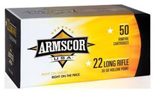 Armscor 22 LR Ammunition ARM22LRHP 36 Grain Plated Hollow Point 50 Rounds