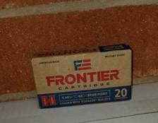 Hornady 5.56 NATO Ammunition Frontier FR280 62 Grain Spire Point 20 Rounds