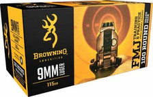 Browning 9mm Ammunition B191800094 115 Grain Full Metal Jacket 100 rounds