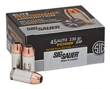 Sig Sauer 45 Auto Ammunition V-Crown E45AP2-20 230 Grain Jacketed Hollow Point 20 rounds