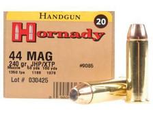 Hornady 44 Magnum Custom H9085 240 gr JHP XTP 20 rounds