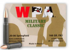 Wolf 30-06 Ammunition Military Classic 168 Grain Full Metal Jacket Steel Case 20 Rounds