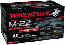 Winchester 22LR M22 Subsonic S22LRTSU8 45 gr Black Plated Round Nose 800 rounds