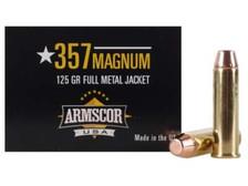 Armscor 357 Magnum Ammunition 125 Grain Full Metal Jacket CASE 1000 rounds