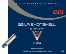 CCI 22LR SHOTSHELL, CCI 0039, #12 Shot, 31gr, 20 rounds