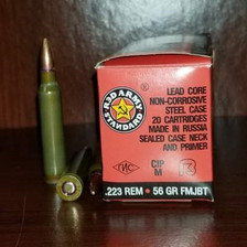 Century .223 Remington Ammunition Red Army Standards AM2424 56 Grain Full Metal Jacket Boat Tail 20 Rounds