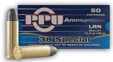 Prvi PPU 38 Special Ammunition PPR33 158 Grain Lead Round Nose 50 Rounds
