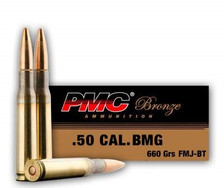 PMC 50 BMG Ammunition Bronze PMC50A 660 Grain Full Metal Jacket 10 rounds