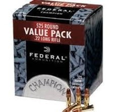 Federal 22LR Ammunition Champion 745 36 Grain Copper Plated Hollow Point 525 Rounds