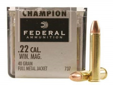 Federal 22 Win Mag Ammunition Champion F737 40 Grain Full Metal Jacket 50 Rounds