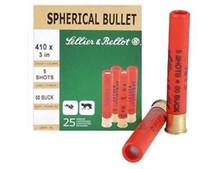 "Sellier & Bellot 410 Bore Ammunition SB410B 3"" 1190 fps 5 pellets 00 BUCK 25 rounds"