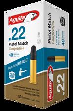 Aguila 22LR Ammunition Pistol Match 1B222516 40 Grain Lead Round Nose 50 rounds