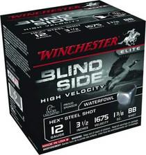 "Winchester 12 GA Blind Side High Velocity SBS12LHVBB Ammunition 3-1/2"" 1-3/8 oz 1675fps BB Steel Shot 250 rounds"