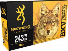 Browning 243 Winchester Ammunition BXV Varmint Expansion B192302431 65 Grain Polymer Tip 20 rounds