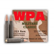 Wolf 223 Rem Ammunition Military Classic MC223FMJ55 55 Grain Full Metal Jacket Steel Cased 20 Rounds