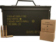 GGG 7.62x51mm NATO Ammunition M80 147 Grain FMJ Ammo Can M2A1 Ammo Can 640 rounds