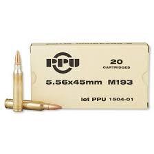 Prvi PPU 5.56x45mm NATO Ammunition M193 PP521 55 Grain Full Metal Jacket 20 Rounds