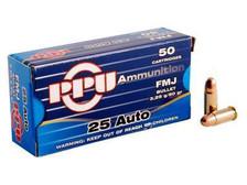 Prvi PPU 25 ACP Ammunition PPR21 50 Grain Full Metal Jacket 50 Rounds