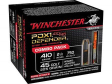 """Winchester PDX1 Defender Combo Pack 45 Colt (Long Colt) 225 Grain Bonded Jacketed Hollow Point and 410 Bore 2-1/2"""" 3 Disks over 1/4 oz BB Shot S41045PD 20 rounds"""