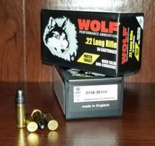 Wolf 22LR Match Target Ammunition WPA22MTB 40 Grain Lead Round Nose Brick of 500 Rounds