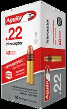 Aguila 22LR Ammunition 1B222320 Interceptor Hyper Velocity 40 Grain Copper Plated Round Nose 50 rounds