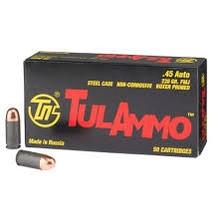 Tula 45 ACP Ammunition TA452300 230 Grain Full Metal Jacket Case of 500 Rounds