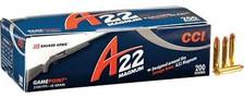 CCI 22 WMR Ammunition A22 GamePoint 963CC 35 Grain Jacketed Soft Point 200 Rounds