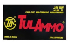 Tula 308 Winchester Ammunition 165 Grain Soft Point Steel Case 20 rounds