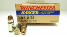 Winchester 357 Sig Ammunition Ranger T-Series RA357SIGT 125 Grain Jacketed Hollow Point 50 rounds