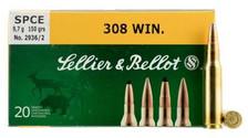 Sellier & Bellot Ammunition 308 Winchester 150 Grain SPCE Soft Point SB308D 20 Rounds