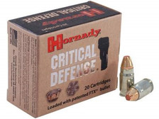 Hornady 357 Sig Ammunition Critical Defense H91300 115 Grain FTX 20 rounds