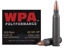 Wolf 223 Rem WPA Polyformance 62 gr HP Steel CASE 500 rounds