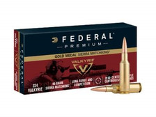 Federal 224 Valkyrie Ammunition Gold Medal GM224VLK 90 Grain Sierra MatchKing Hollow Point Boat Tail 20 Rounds